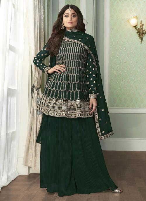 Green Faux Georgette Wedding Wear Embroidery Work Palazzo Suit