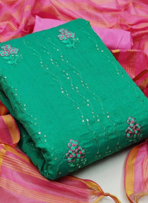 Green Semi Modal Casual Wear Sequins Work Dress Material