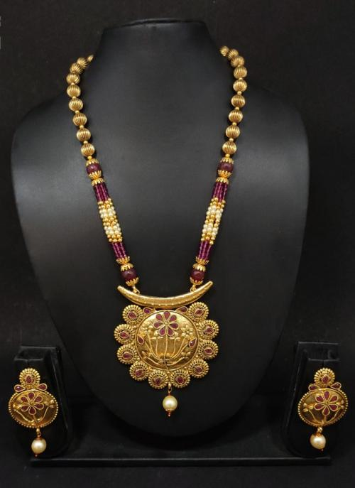 Purple Antique Gold Polish Traditional Jewellery