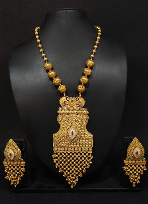 Gold Polish Traditional Long Necklace With Earrings