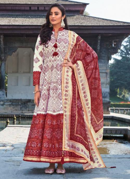 Cream Killer Silk Wedding Wear Digital Printed Gown With Dupatta