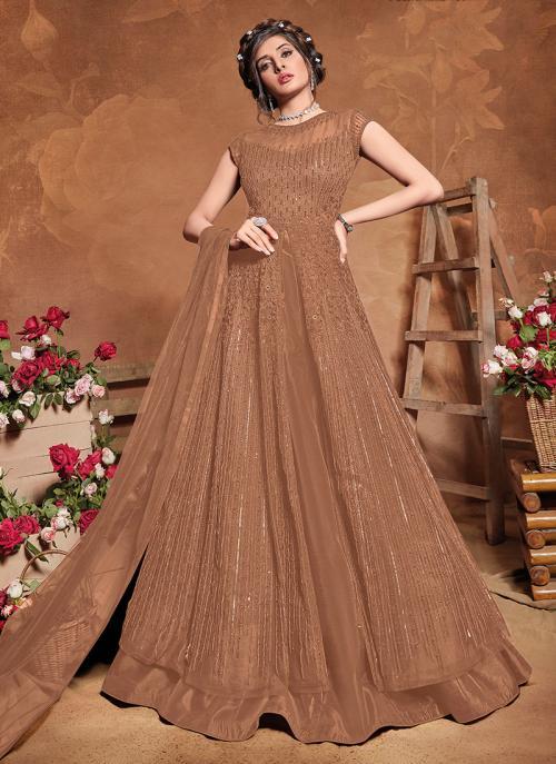 Brown Net Reception Wear Embroidery Work Anarkali Suit