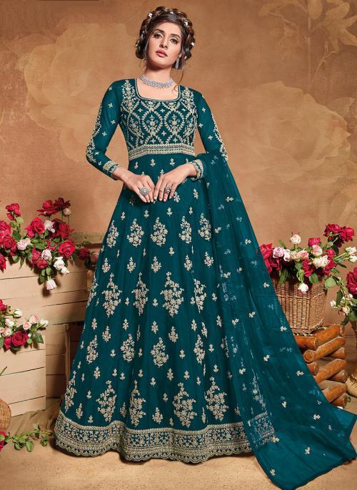 Wine Net Reception Wear Embroidery Work Anarkali Suit