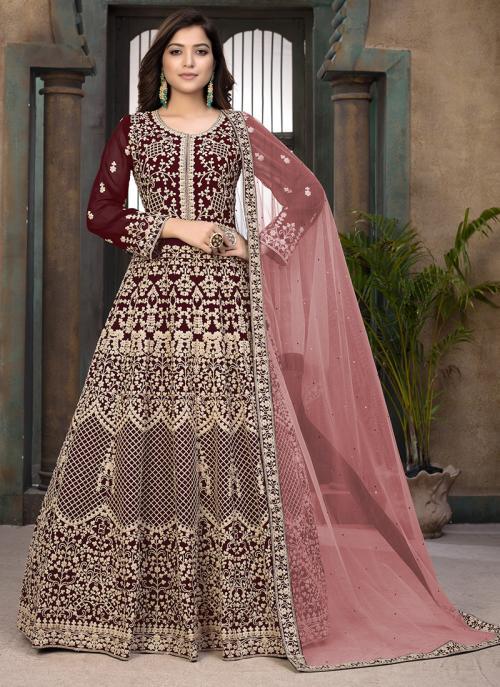Maroon Faux Georgette Wedding Wear Embroidery Work Anarkali Suit