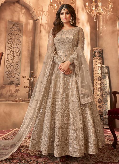 Beige Net Reception Wear Embroidery Work Anarkali Suit