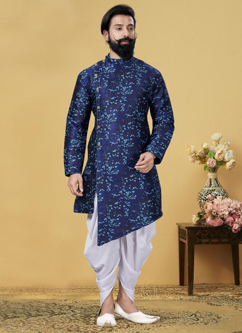 Navy Blue Heavy Silk Festival Wear Weaving Indo Western