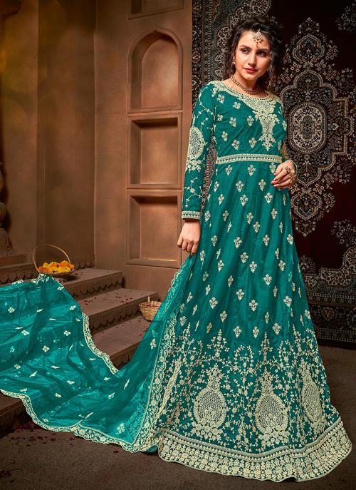 Firozi Net Reception Wear Heavy Embroidery Work Anarkali Suit