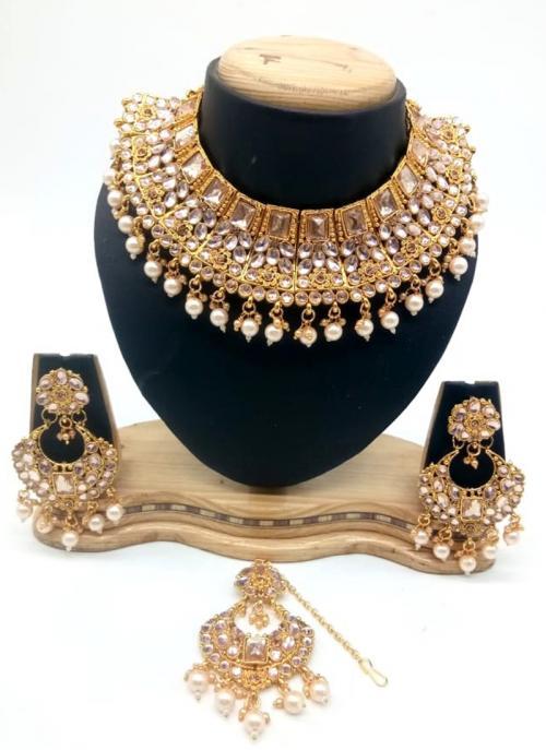 Golden Kundan And Stone Multi Piece Necklace Set