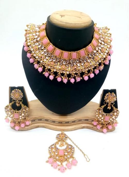 Light Pink Kundan And Stone Multi Piece Necklace Set