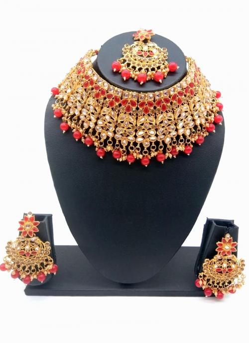 Red Gold Tone Bridal Kundan Chokar Necklace Set