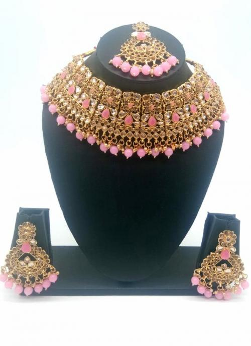 Pink Beautiful Stone And Kundan Studded Bridal Necklace Set