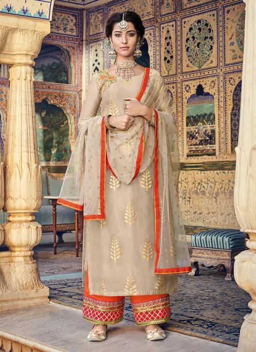 Beige Chanderi Festival Wear Foil Printed Palazzo Suit