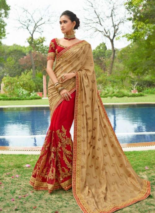 Beige Fancy Reception Wear Heavy Embroidery Work Saree