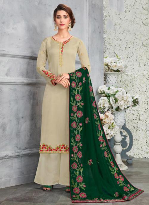 Beige Georgette Satin Festival Wear Embroidery Work Palazzo Suit