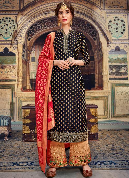 Black Banarasi Wedding Wear Jacquard Palazzo Suit