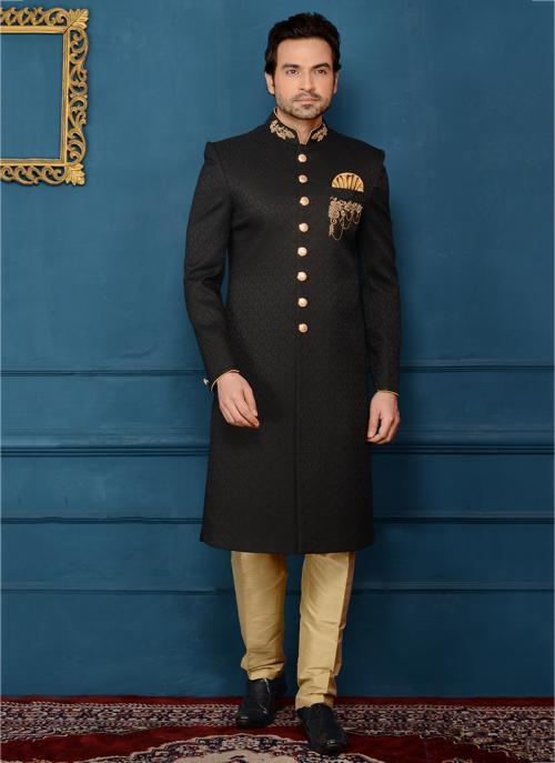 Black Jacqaurd Embroidery Work Wedding Wear Sherwani Style