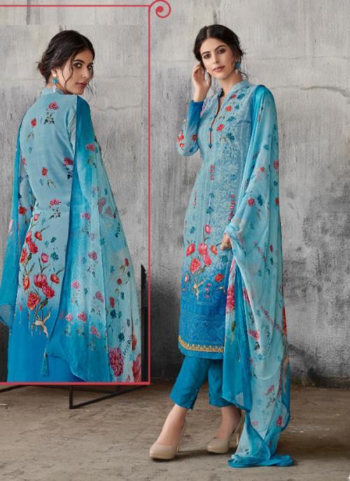 Blue Georgette Festival Wear Print Lakhnavi Work Churidar Suit