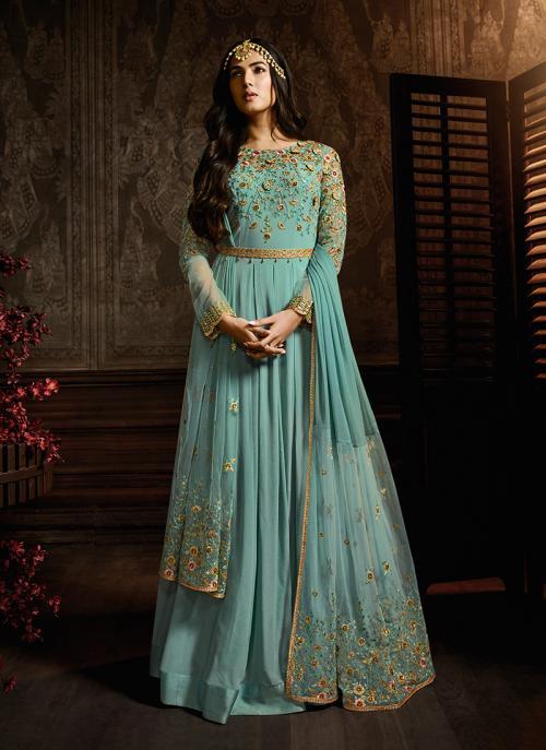 Blue Georgette Reception Wear Embroidery Work Anarkali Suit