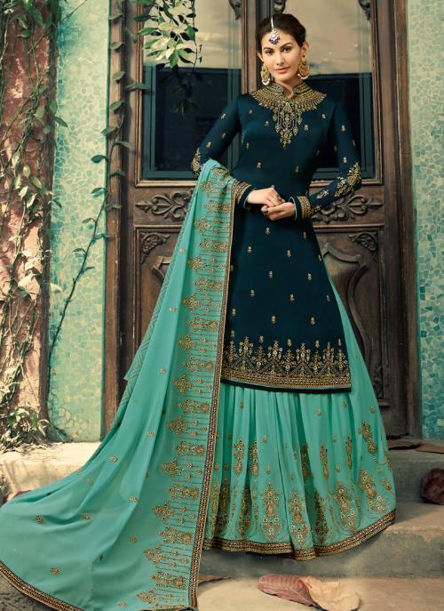 Blue Georgette Wedding Wear Embroidery Work Sharara Suit