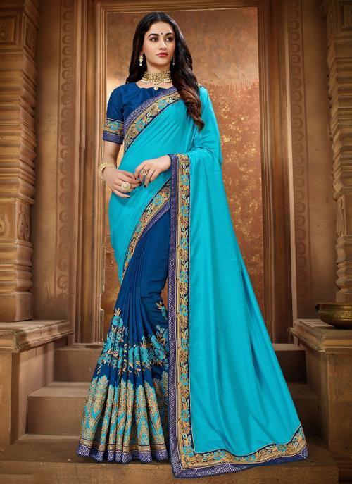 Blue Silk Party Wear Embroidery Work Saree