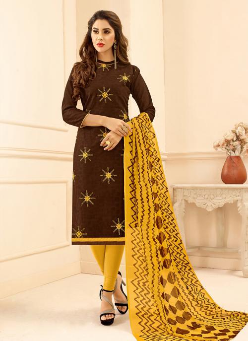 Brown Jacqaurd Daily Wear Embroidery Work Churidar Suit