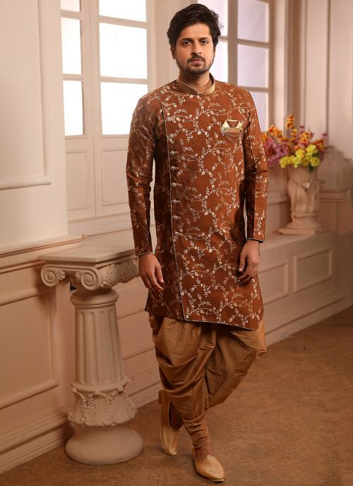 Brown Jacqaurd Wedding Wear Weaving Indowestern