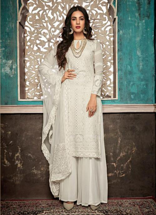 Georgette Off White Embroidery Work Wedding Wear Sharara Suit