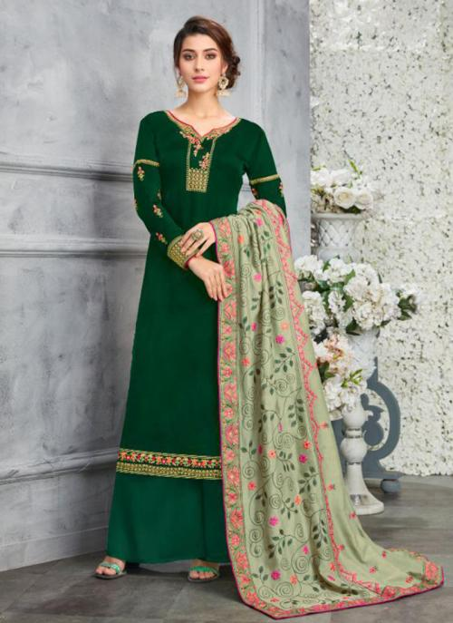 Green Georgette Satin Festival Wear Embroidery Work Palazzo Suit