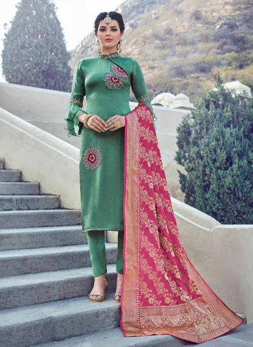 Green Georgette Satin Party Wear Embroidery Work Churidar Suit