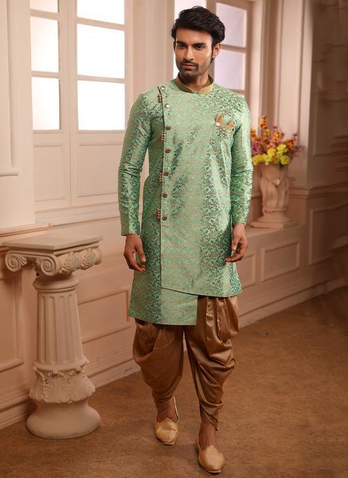 Weaving Indowestern Green Jacqaurd Wedding Wear Collection