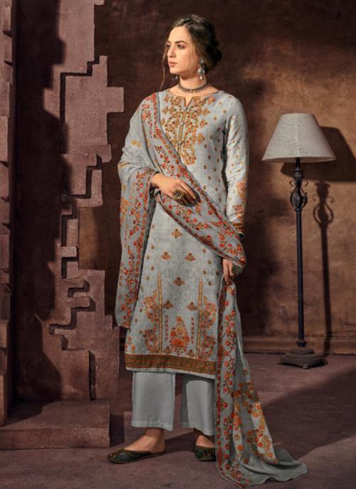 Jam Satin Grey Festival Wear Khatli Work Palazzo Suit
