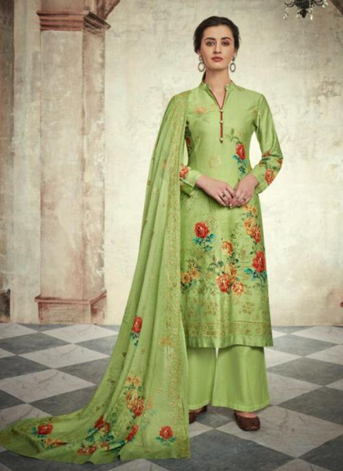 Jam Satin Light Green Festival Wear Sequins Work Palazzo Suit