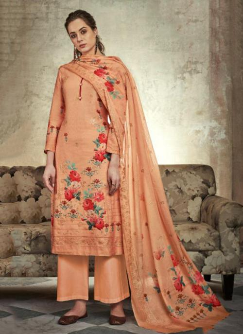 Jam Satin Orange Festival Wear Sequins Work Palazzo Suit