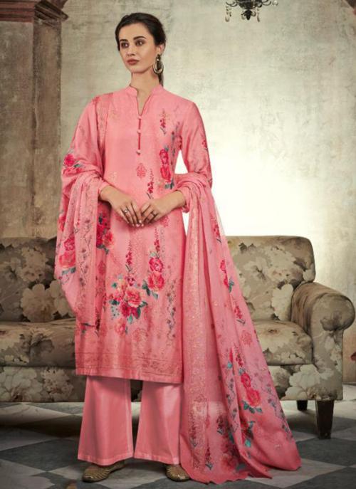 Jam Satin Pink Festival Wear Sequins Work Palazzo Suit