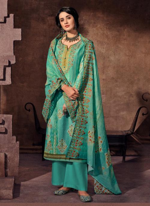 Jam Satin Teal Festival Wear Khatli Work Palazzo Suit