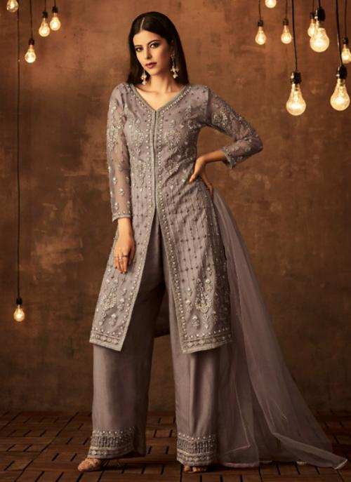 Lavender Net Wedding Wear Pearl Work Palazzo Suit