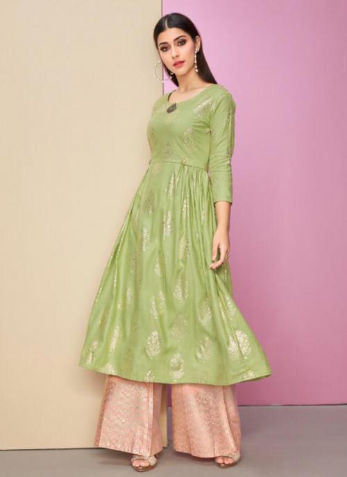Light Green Cotton Satin Festival Wear Foil Printed Work Kurti With Bottom
