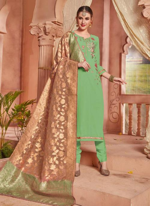 Light Green Georgette Party Wear Embroidery Work Churidar Suit