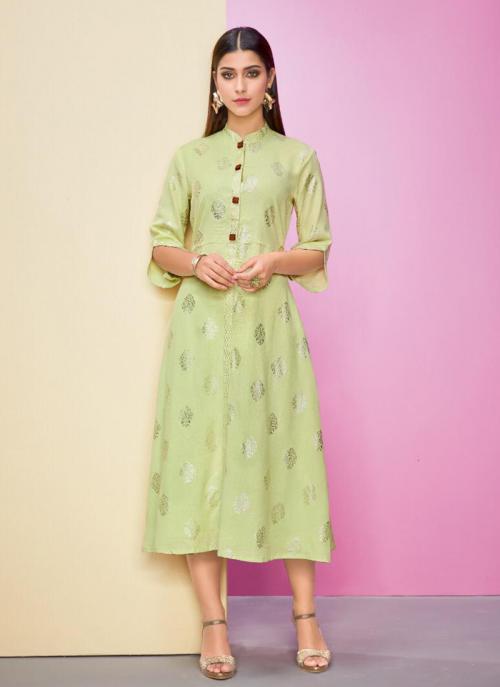 Light Green Rayon Flex Casual Wear Foil Printed Work A Line Kurti