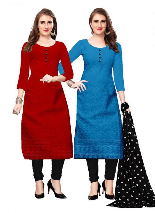 Maroon And Blue Cotton Daily Wear Chikan Work Two Top Churidar Style