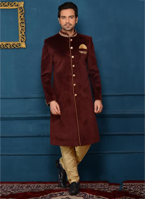 Buy Indian Wedding Wear Maroon Velvet Embroidery Work Sherwani Style