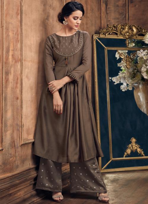 Silk Metallic Color Casual Wear Embroidery Work Kurti With Palazzo