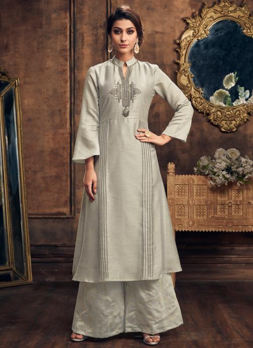 Buy Casual Wear Metallic Color Silk Embroidery Work Kurti With Palazzo