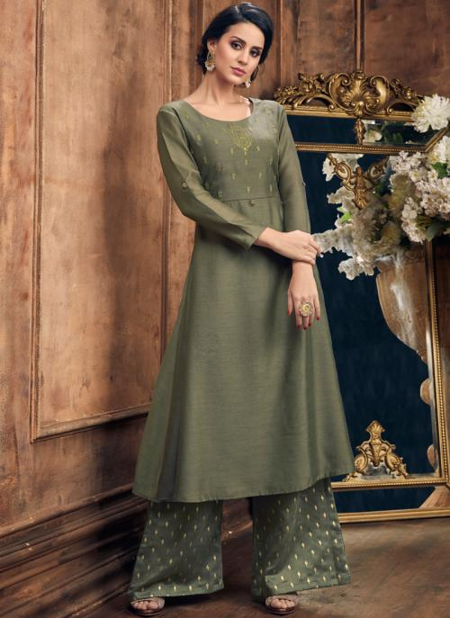 Online Casual Wear Metallic Color Silk Embroidery Work Kurti With Palazzo
