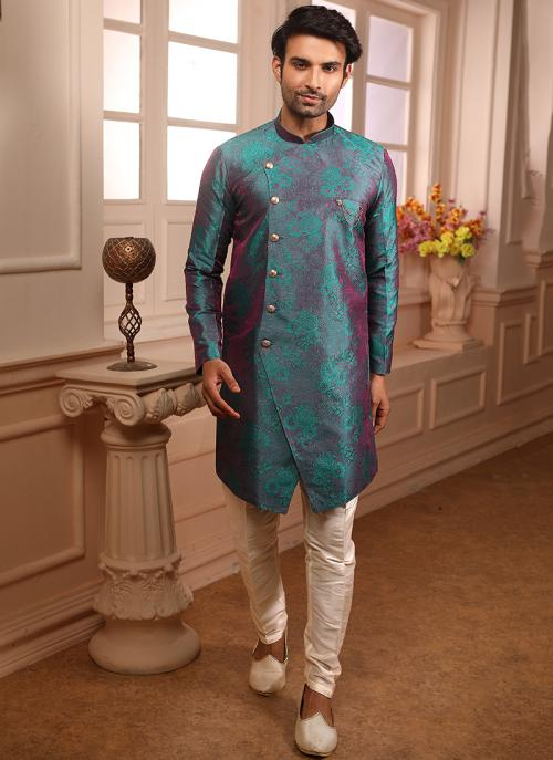 Multi Color Jacqaurd Wedding Wear Weaving Indowestern
