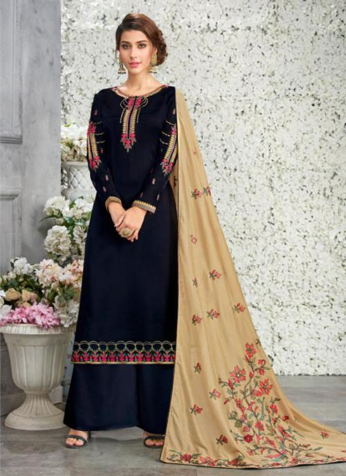 Navy Blue Georgette Satin Festival Wear Embroidery Work Palazzo Suit