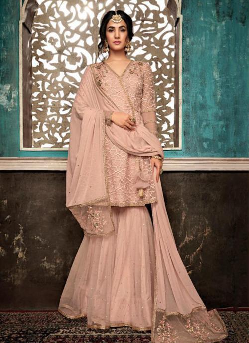 Net Peach Embroidery Work Wedding Wear Sharara Suit