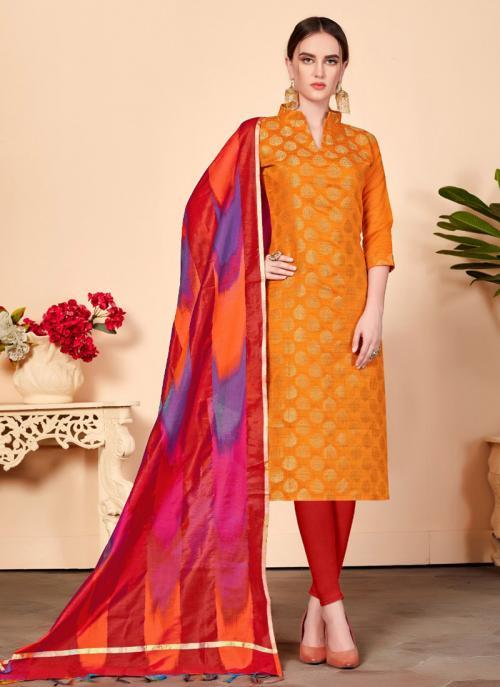 Orange Banarasi Silk Regular Wear Churidar Suit