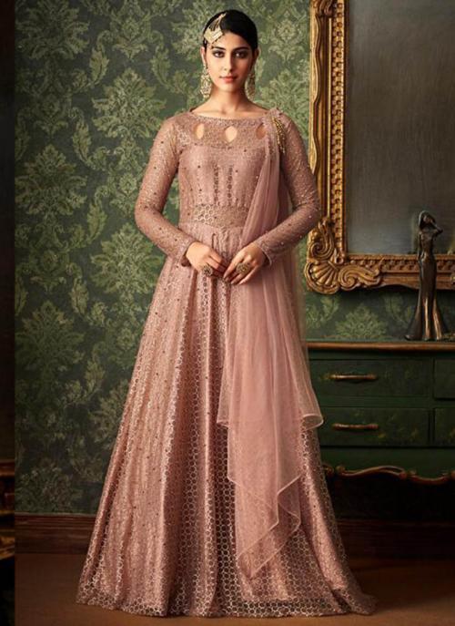 Peach Jacqaurd Net Party Wear Embroidery Work Anarkali Suit