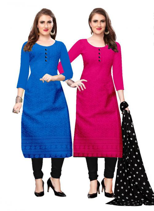 Pink And Blue Cotton Daily Wear Chikan Work Two Top Churidar Style